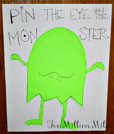Pin the Eye on the Monster  #monster #party #birthday #game