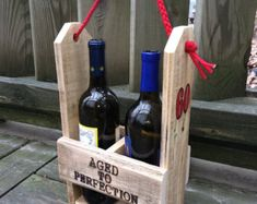 WINE Lover Gift Rustic Wood WINE CADDY Wine by AbsoluteImpressions