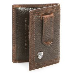 Ariat Western Mens Wallet Leather Bifold Clip Concho Copper