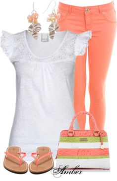 Totally something I would wear, perfect for spring 2013! Coral colored skinnies & white lace shirt.
