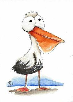 ACEO Original watercolor painting Lucia Stewart whimsical bird little pelican - Aquarelllmalerei Bird Drawings, Cartoon Drawings, Animal Drawings, Cartoon Art, Cute Drawings, Watercolor Bird, Watercolor Animals, Watercolor Paintings, Watercolor Portraits