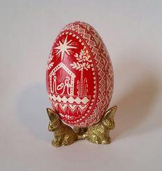 Christmas Nativity goose egg Pysanka by UkrainianEasterEggs