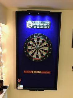 Dart board surround project with lights and laser toe line