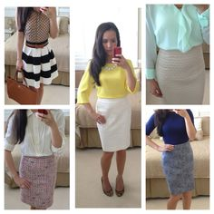Dressy and classy work outfits - perfect for warmer weather in Spring or Summer! // Details here: http://www.stylishpetite.com/2013/09/end-of-summer-work-outfit-ideas.html