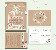 Personalised birdcage wedding invitations packs of 10 Weddings