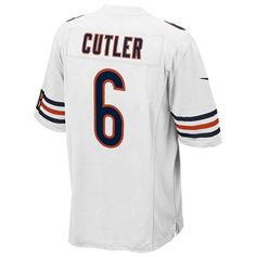 Represent Jay Cutler and the Chicago Bears in premium game day style with a Nike men's NFL limited jersey. The jersey features tackle twill numbers and a tailored fit designed for movement. V-neckline with TPU metallic-effect shield at collar Pullover style Short sleeves Fabric applique team logo and player number at front Nike Swoosh logo at each sleeve Fabric applique player name and number at back Side slits at hem Laser-cut embossed jock tag at hem Tailored fit designed for movement…