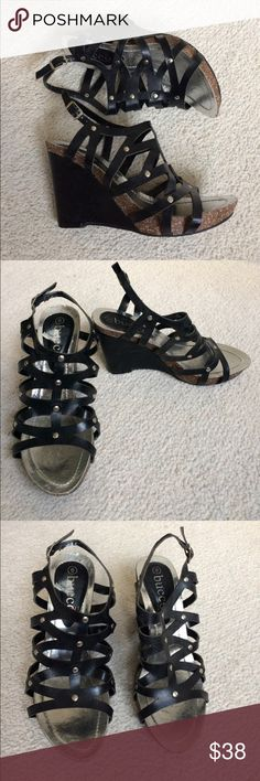 """Bucco Capensis Strappy Leather Wedges EUC Sexy cutout leather and studd wedges by Bucco Capensis. Have adjustable ankle strap. Cork bottom. 3 3/4"""" heel. 3/4"""" platform. Worn once or twice and still in great condition. Bucco Capensis Shoes Wedges"""