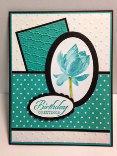 Stampin' Up! ... handmade birthday card from My Creative Corner! ... monochromatic Bermuda Bay with black mats ... luv the look of the triple stamp lotus ...