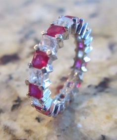 Stunning Ruby and White Topaz Sterling Silver Eternity Band Ring   #Unbranded #Eternity