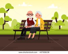 Elderly couple outdoors. Grandparents are sitting on a bench in the park. Vector…