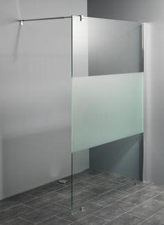 10 mm kwaliteits-glaswanden voor inloopdouches met decorstrook van matglas leverbaar in 8 verschillende maatvoeringen.Eenvoudige montage.Gratis bezorging.