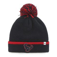 5e0d1f318a4 Houston Texans 47 Brand Navy Red Baraka Knit Cuffed Poofball Beanie Hat Cap