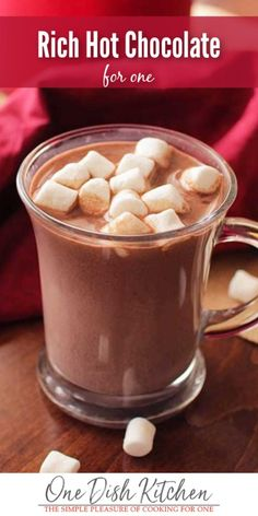 Rich Hot Chocolate Recipe The best tasting homemade hot chocolate Made with milk cocoa powder and sugar So easy to make One Dish Kitchen Rich Hot Chocolate Recipe, Homemade Hot Chocolate, How To Make Chocolate, Chocolate Gifts, Homemade Food, Cooking For One, Meals For One, Recipe For 1, Diy Food Gifts