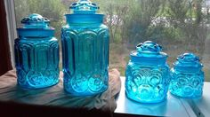 L E Smith Moon and Stars canister set of 4 - teal in Pottery & Glass, Glass, Glassware | eBay