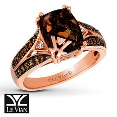 An intense oval Chocolate Quartz® shares center stage with interlocking bands of Le Vian Chocolate Diamonds Diamond Jewelry, Jewelry Rings, Fine Jewelry, Diamond Rings, Jewlery, Wedding Ring For Her, Wedding Rings, Pretty Rings, Beautiful Rings
