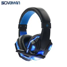 Bass HD Gaming Headset Mic Stereo Sound Gamer Over-ear Headband Headphone Noise Cancelling with Microphone for PC Game Glow LED