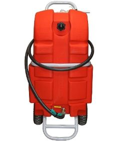 """The 25 gallon Fuel Daddy was created from our in house design team and is great for safely and easily transporting fuel to your boat. Rotomolded with high-density, cross-linked polyethylene, this portable tank will never rust or corrode. The tank sits in a powder-coated metal frame with 10"""" pneumatic tires that allow easy maneuvering.  #HedstromPlastics #Boating #FuelDaddy"""
