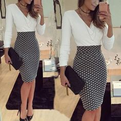 Buy Women OL Formal Business Work Stretch Dress 2016 Long Sleeve V-neck Plaid Patchwork Party Slim Bodycon Pencil Dress at Wish - Shopping Made Fun Trajes Business Casual, Business Casual Outfits, Office Outfits, Classy Outfits, Stylish Outfits, Office Attire, Business Casual Female, Summer Business Attire, Girly Outfits