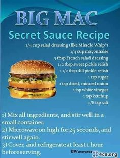 big mac sauce recipe, may have to try this when I have a craving for it and put it on a turkey burger Cat Recipes, Sauce Recipes, Cooking Recipes, Recipies, Chicken Recipes, Secret Sauce Recipe, Big Mac Special Sauce Recipe, Big Mac Sauce Recipe Copycat, French Salad Dressings
