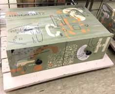 Made from an old drawer. I used collage and stenciling to decorate the surface. Paint Stencils, Stenciling, Old Drawers, Sharpie Markers, Footlocker, Mid Century Modern Design, Toy Chest, Surface, Arts And Crafts