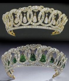 Grand Duchess Vladimir's diamond circles tiara, now owned by the British royal family. Surely one of the most iconic and beautiful tiaras.The droplets can either be pearls or emeralds. I prefer the pearls. British Crown Jewels, Royal Crown Jewels, Royal Crowns, Royal Tiaras, Royal Jewelry, Tiaras And Crowns, Fine Jewelry, Circlet, Family Jewels