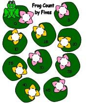 Frog count by five stacking disc fun.  Learn how to use them at Making Learning Fun.