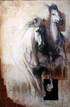 Léa Rivière, love the colours used here. Art And Illustration, Horse Drawings, Art Drawings, Arte Equina, Contemporary Art Gallery, Horse Sketch, Frida Art, Horse Artwork, Ap Art