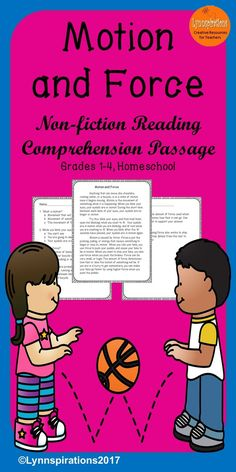 This reading comprehension passage is great for teaching the science of Motion and Force for grades 1-4. It can be used in your class to help your students with reading comprehension skills as well as with test taking skills. It is part of the Science Bundle. Please take a preview peek! Included: An engaging passage with 4 multiple choice questions and 2 written responses.