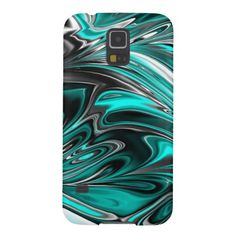 Samsung Galaxy S5 case. Trendy, cool and beautiful black, white, silver gray, teal, aqua turquoise and pastel blue fantasy swirl waves