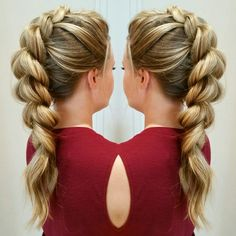 Pull through braid - Mohawk updo. @sarahtheblowoutbar - instagram