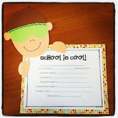 Miss Kindergarten: School is Cool! one template for boy and one for girl :)