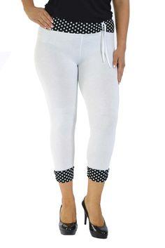 Cute Cropped Polka Dot Leggings - White Polka Dot Leggings, Plus Size Leggings, Plus Size Outfits, White Jeans, Capri Pants, Polka Dots, Large Size Clothing, Capri Trousers, Plus Size Fashions