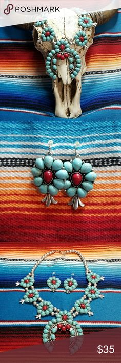 LARGE Red & Turquoise How lite Squash Blossom Set Silvertone metal with red & turquoise dyed howlite. The pendant measures 3 inches by 3 inches.  While this is not the higher priced Squash Blossom Necklaces you see that are made by the Native Americans,  it is certainly not a piece to be overlooked.  Yes,  this is higher end costume jewelry and you will not be disappointed!  Please feel free to ask any questions prior to purchasing.  Earrings Included. Jewelry Necklaces
