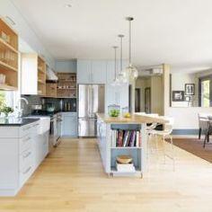 Kitchen: Bamboo floor, white / blonde wood.