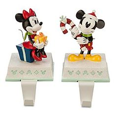 Disney Mickey and Minnie Mouse Stocking Holder Set