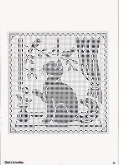 Hobby lavori femminili - ricamo - uncinetto - maglia: gatto punto croce filet