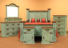 Rustic pine turquoise bedroom set