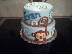 monkey baby shower ideas for boys | Sweet Mischief Ja Cake Ideas: Blue Monkey Baby Shower Cake
