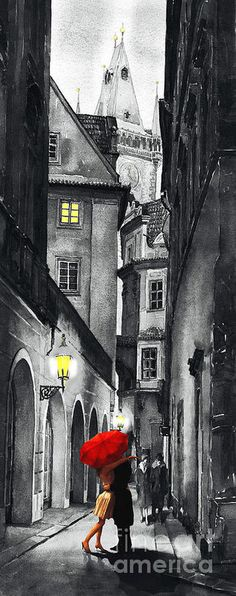 Prague Love Story Fine Art Print by Yuriy Shevchuk Loved Prague. Very romantic. Art And Illustration, Abstract Canvas, Oil Painting On Canvas, Pink Abstract, Arte Black, Black Art, Umbrella Art, Drawing Umbrella, White Umbrella