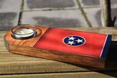 Rustic State of Tennessee Flag Tea Light Candle by millcreekcrafts