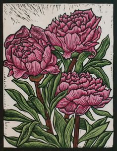 Peony Rose29.5 x 23 cm Edition of 50Hand coloured linocut on handmade Japanese paper. Rachel Newling.