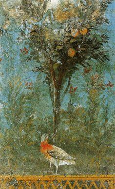 iffranco:    Giardino, affresco di III stile pompeiano (cm 12 x 75) proveniente da Pompei, oggi al Museo Archeologico Nazionale di Napoli (inv. nr.9719).Ancient roman age.