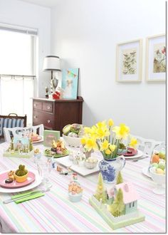 Last-minute pastel Easter decor ideas for our Blue Cottage. I used what I already had at home and just a couple of new finds for the tablescape and mantel decor. Dagmar's Home, DagmarBleasdale.com