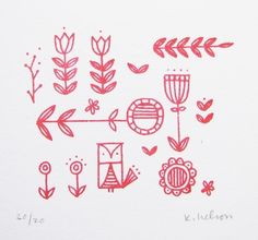 Scandinavian folk Print by June Craft - great for embroidery designs on Christmas decorations