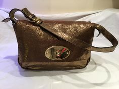 8186db4838 Mulberry Bayswater Clutch in Antique Gold Cracked Metallic