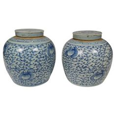 Check out this item at One Kings Lane! Chinoiserie Jars w/ Lids, Pair