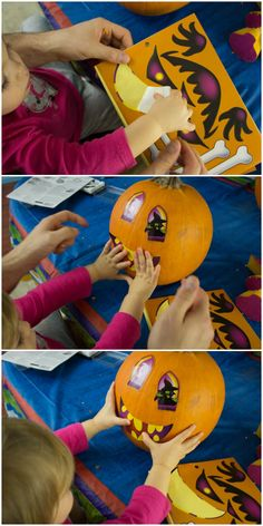 Let your little one decorate their own pumpkin with stickers. 4 other tips to make pumpkin carving easier