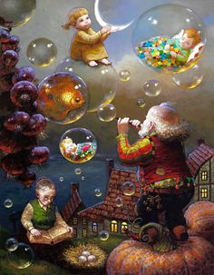 Victor Nizovtsev is a Russian a skillful oil painter that has perfected his technique in creating magical paintings, that bring the viewer into the childhood memories, where the world is filled wit… Victor Nizovtsev, Magical Paintings, Magic Realism, Naive Art, Nocturne, Whimsical Art, Book Illustration, Art Blog, Art Pictures