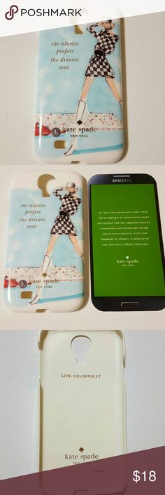 """Kate Spade Galaxy S4 Cell Phone Case NWT.  Racer Track Girl.  """"She always present the driver seat"""" case.   Hardshell.   New in box.  (Box has shows alittle wear from being in stored) kate spade Accessories Phone Cases"""