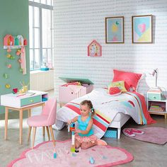 〚 Colorful childhood by Maison du Monde 〛 ◾ Photos ◾Ideas◾ Design Baby Bedroom, Girls Bedroom, Girl Bedroom Designs, Kids Room Design, Little Girl Rooms, Kid Spaces, Kids Furniture, Room Inspiration, Toddler Bed